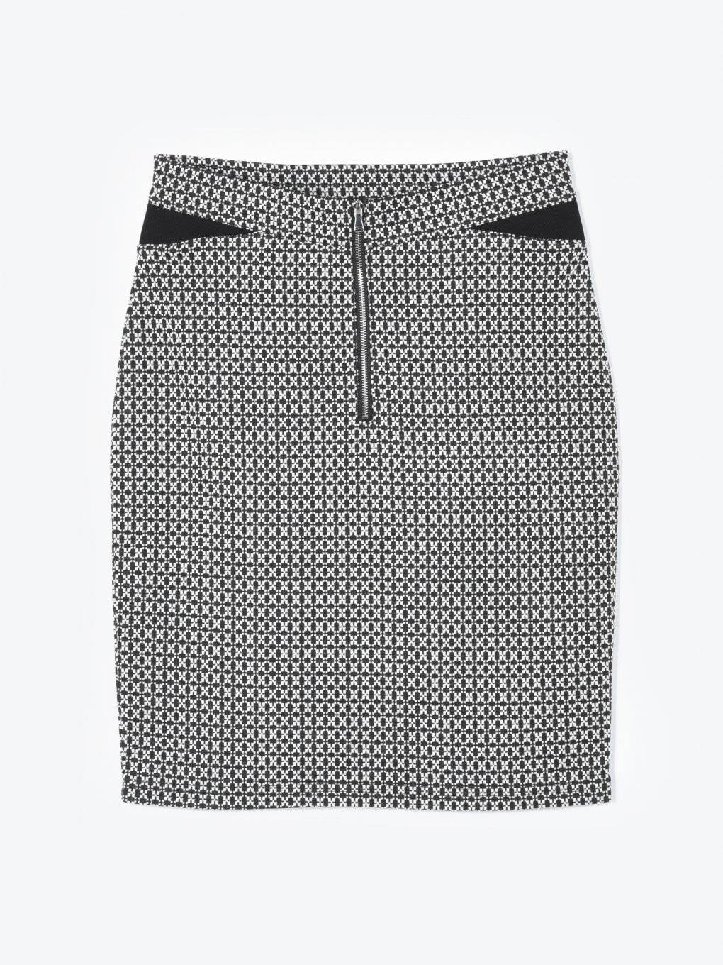 Jacquard bodycon skirt with zipper