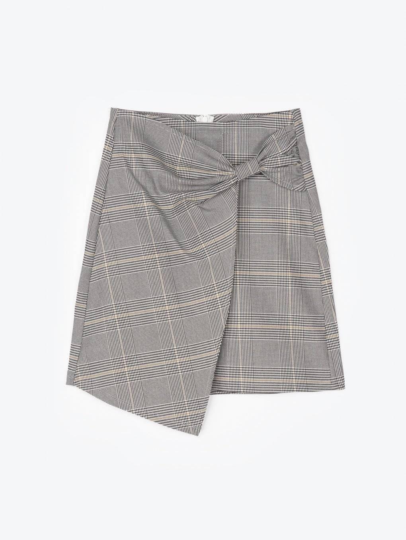 Károvaná zavinovací sukně