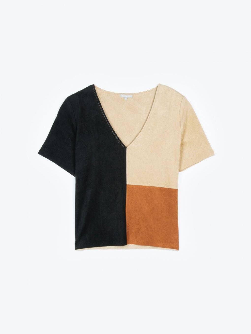 Faux suede paneled top with v-neck