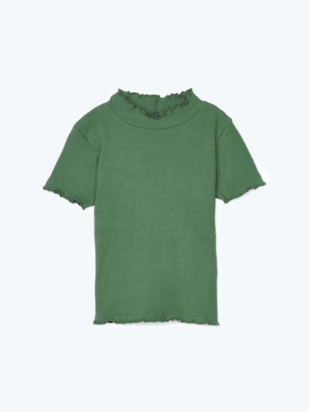 Ribbed short sleeve t-shirt with collar