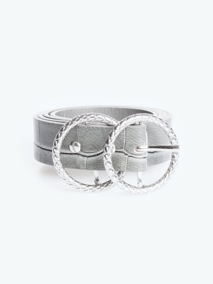 Double ring croc effect belt