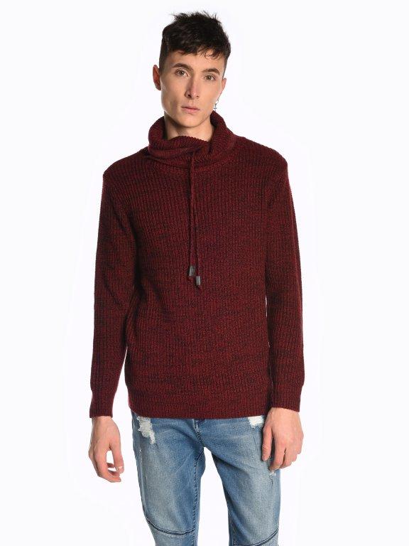 Пуловер, меланж с висока яка