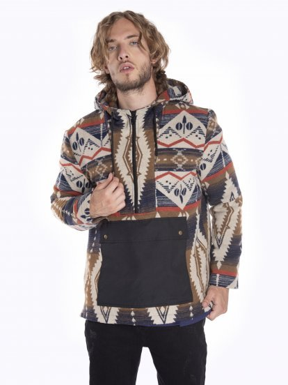 Printed coat with hood