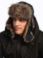 Faux fur lined trapper hat