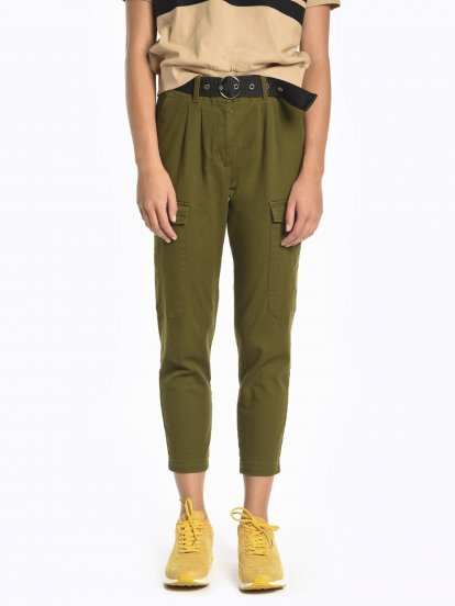Cargo trousers with belt