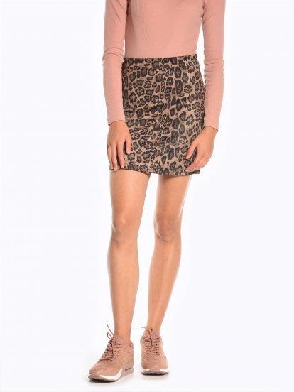 Spódnica mini z nadrukiem w lamparcie cętki