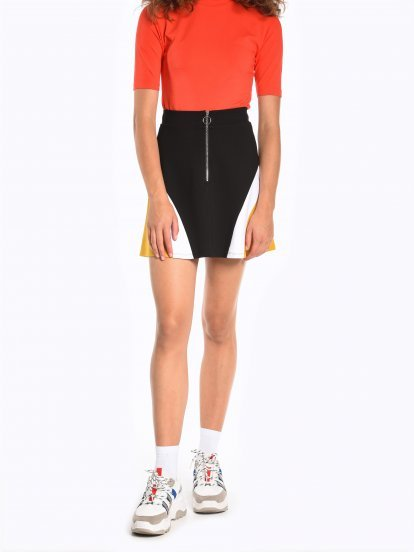 Colour block a-line mini skirt