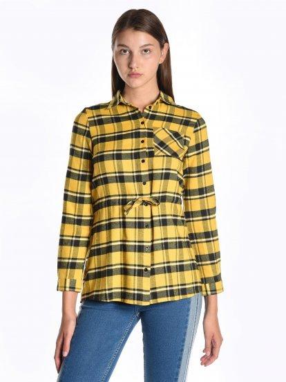 Longline plaid cotton shirt