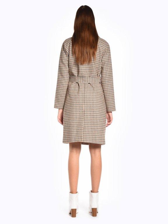 Plaid coat with belt