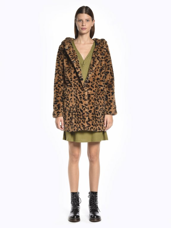 Leopard print faux fur coat with hoodie