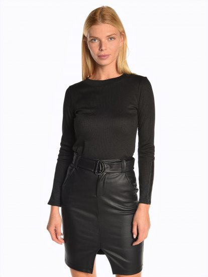 Ribbed top with faux leather sleeve detail