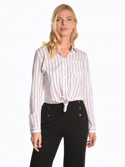Striped cotton shirt with knot