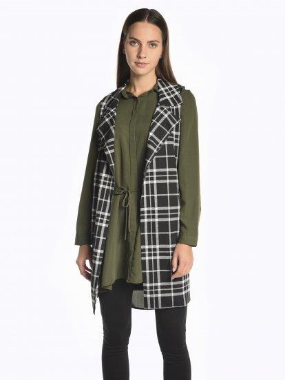 Plaid longline vest