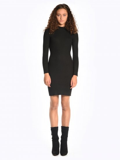 Ribbed bodycon mini dress with high collar