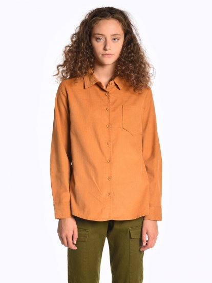 Corduroy shirt with chest pocket
