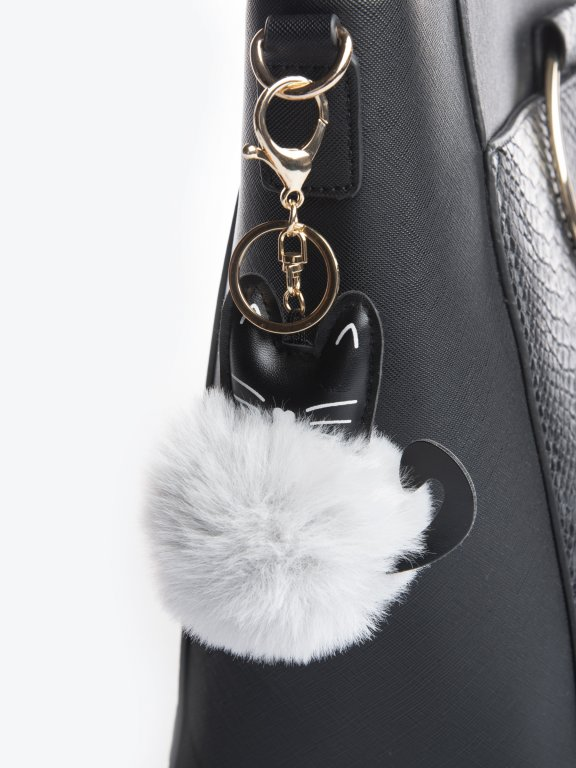 Kitty pom pom key ring