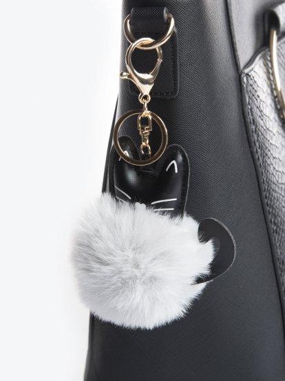 Kitty pom pom key ring