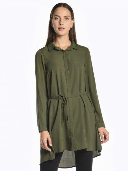 Longline basic blouse with belt