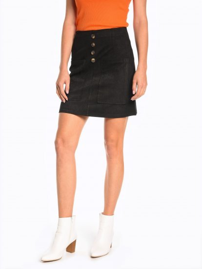 A-line mini skirt with patch pockets