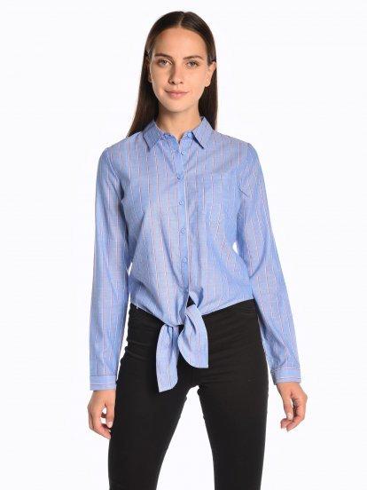 Prúžkovaná bavlnená košeľa s uzlom
