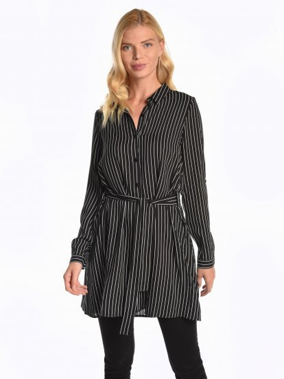 Longline striped viscose shirt with belt