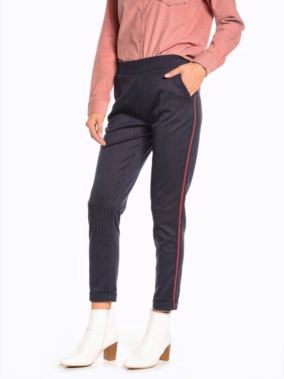 Carrot fit striped trousers