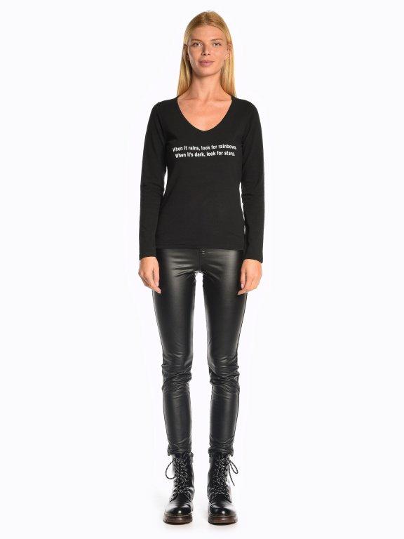 Message print v-neck t-shirt