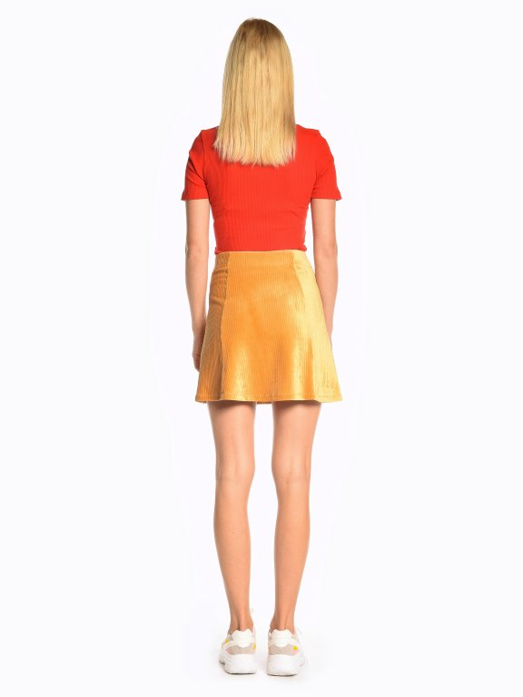 Structured paneled a-line skirt