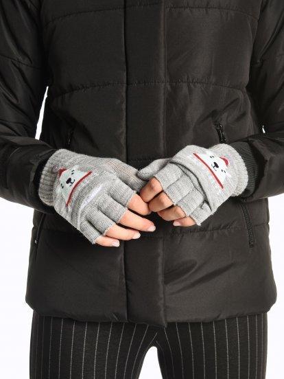 Fingerless teddy gloves
