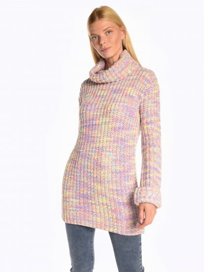 Colourful roll neck jumper