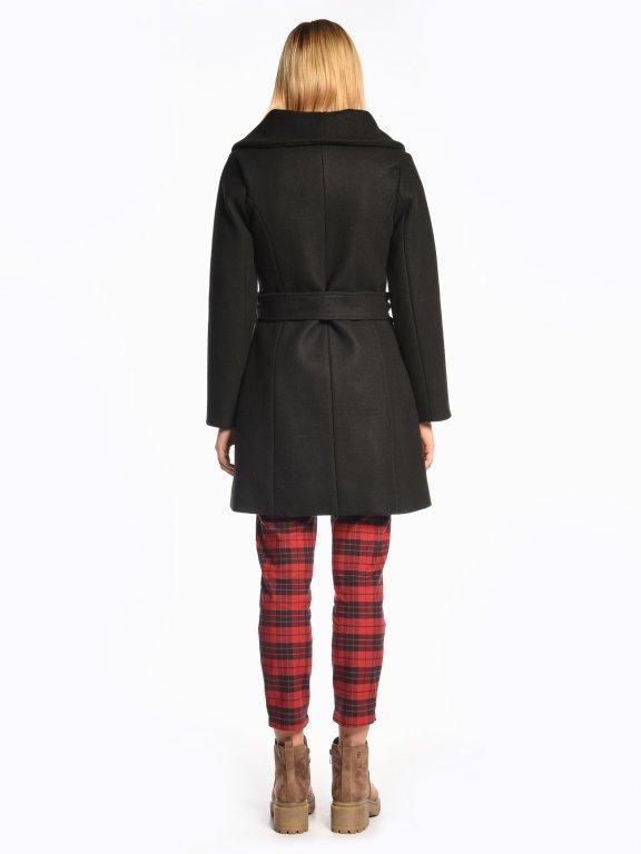 High neck coat with belt