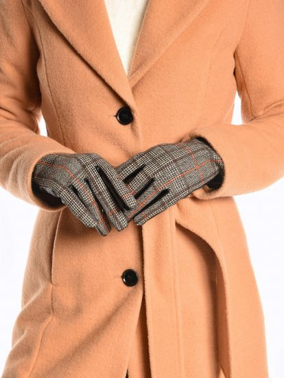 Combined plaid gloves