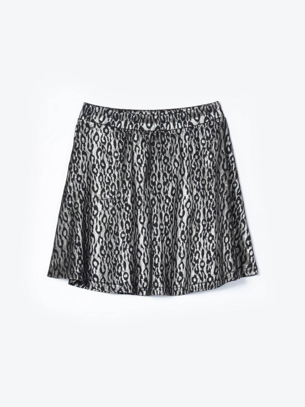 A-line skirt with metallic animal pattern