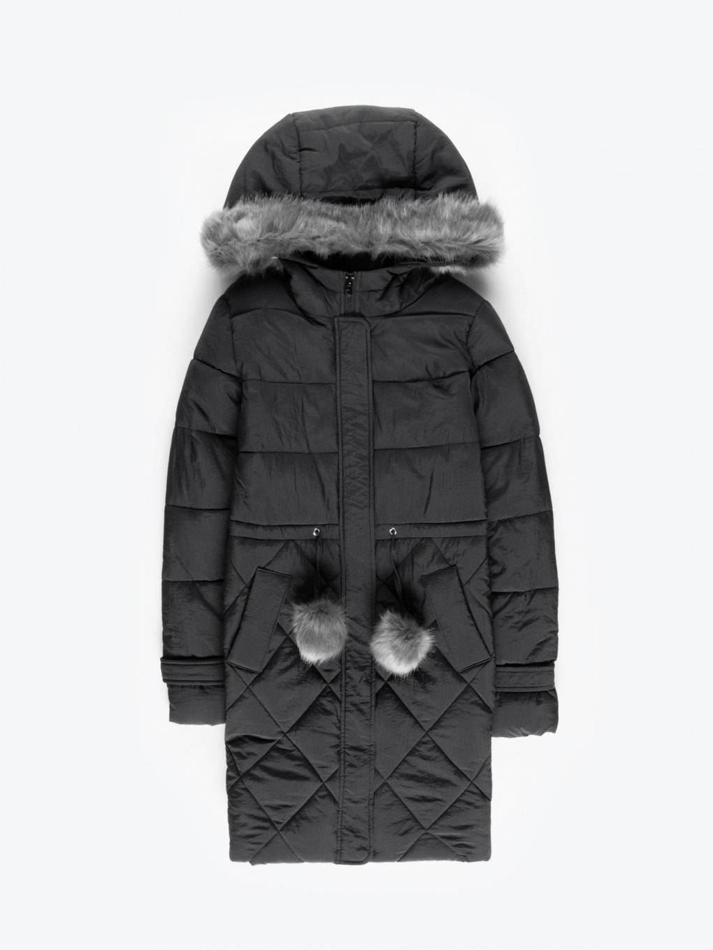 Longline quilted padded jacket with pom-poms