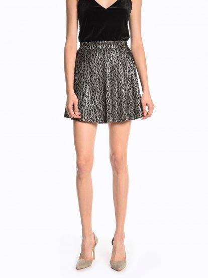 Áčková sukně s metalickým zvířecím potiskem