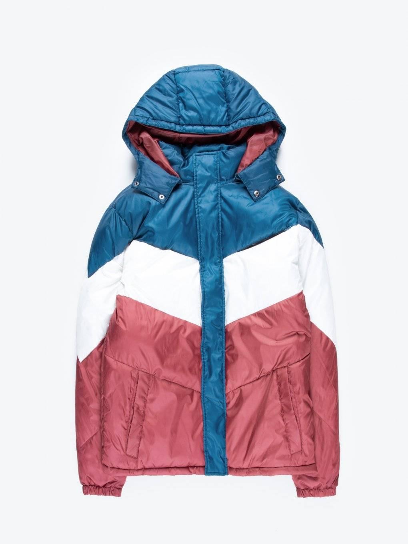 Pikowana watowana kurtka z kapturem