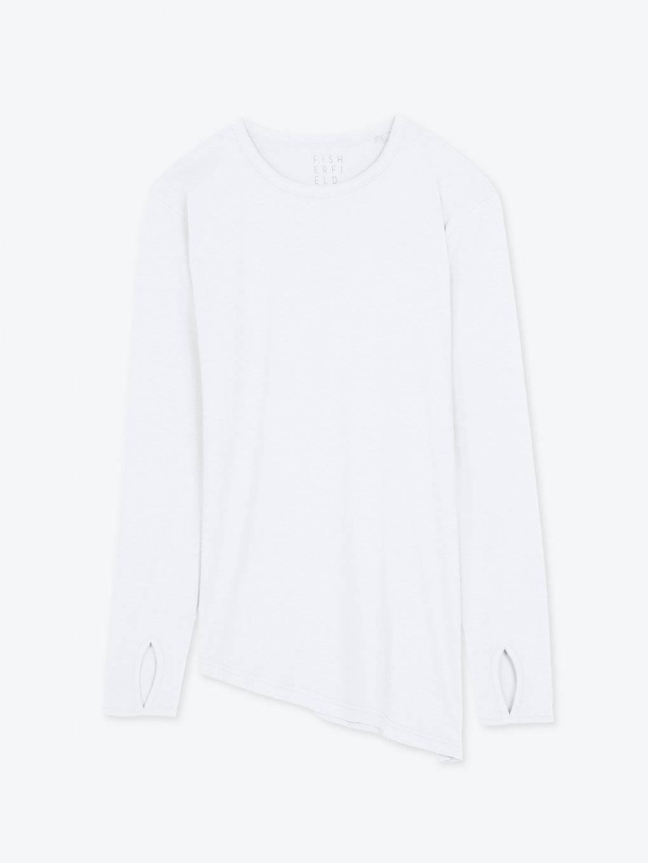 Long sleeve t-shirt with asymmetric hem