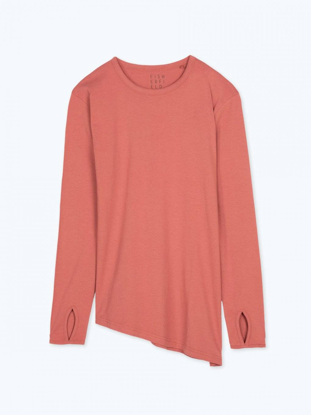 Long sleeve t-shirt with asymmetric hem