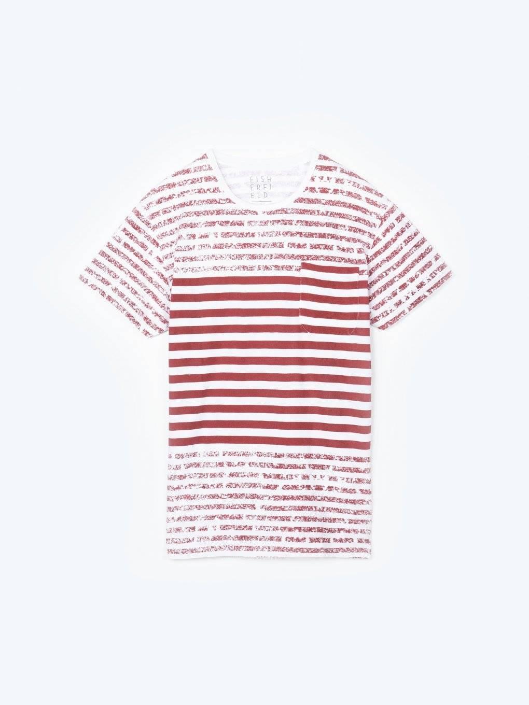 Koszulka w prążki z kieszenią na piersi