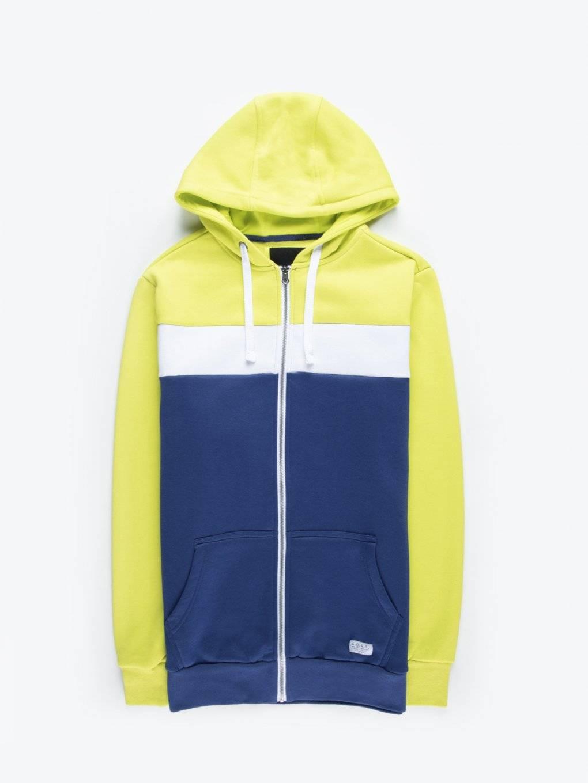 Color block zip-up hoodie