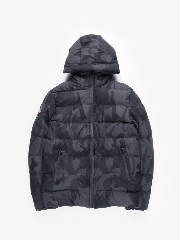 Camo puffer jacket with hood