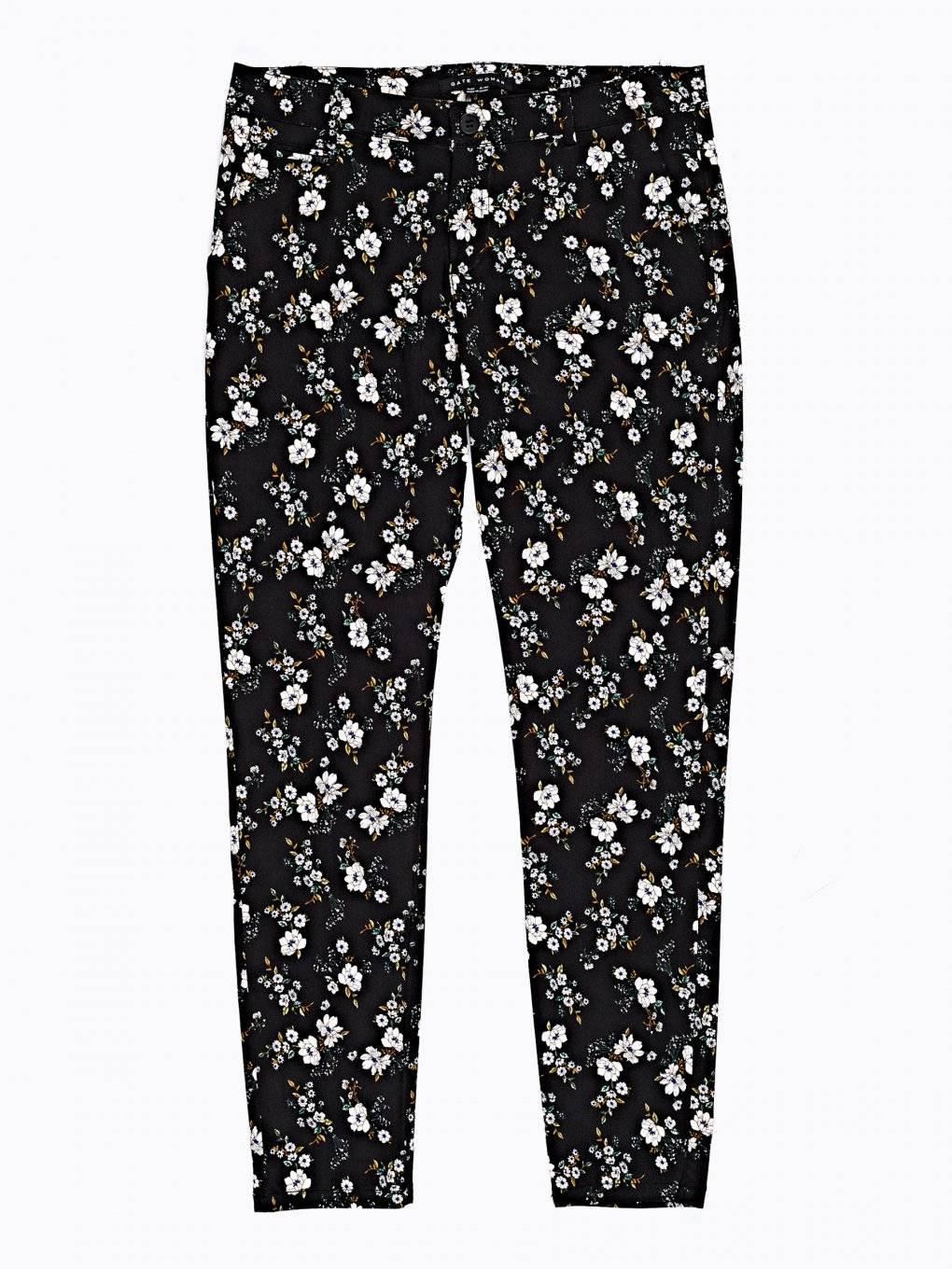 FLORAL PRINT STRETCH TROUSERS