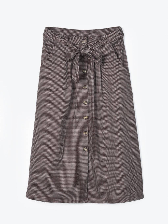 Károvaná sukně midi se zapínáním na knoflíky