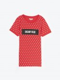 Dotted t-shirt with slogan print