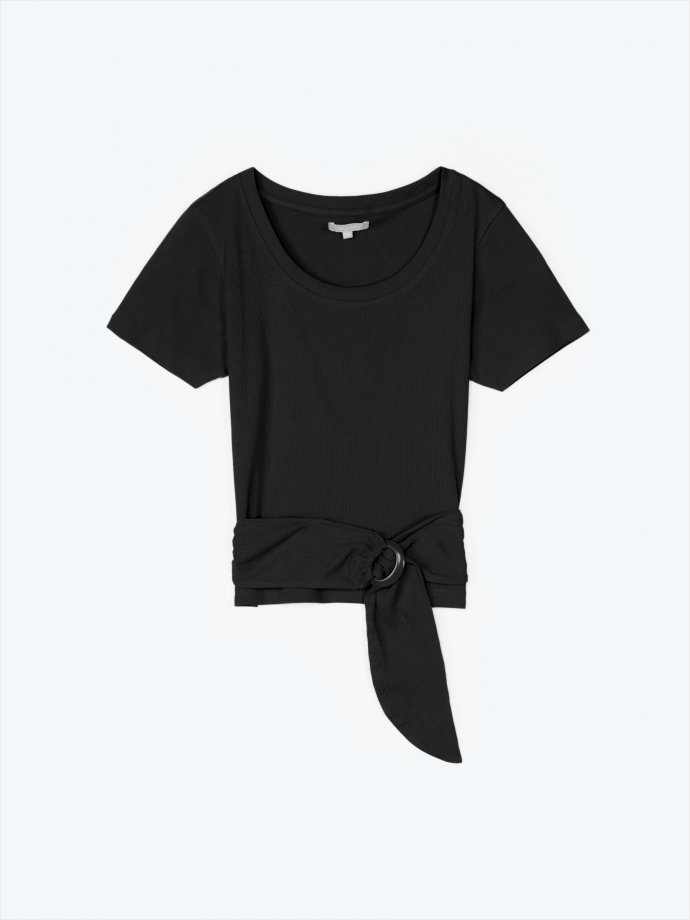 Ribbed short sleeve t-shirt with front buckle