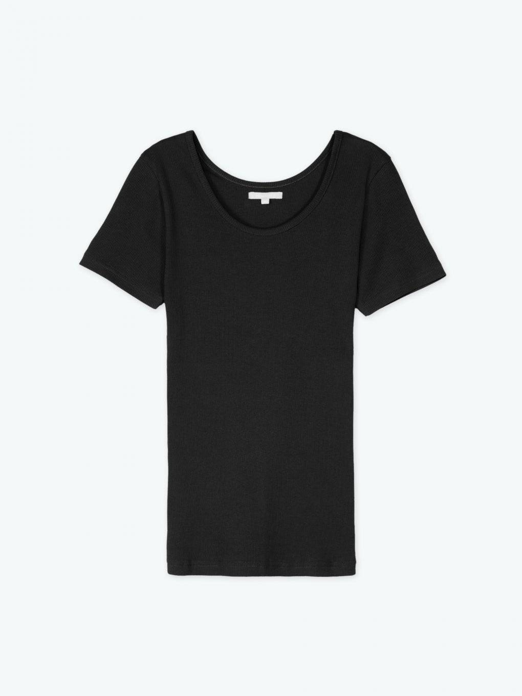 Ribbed short sleeve t-shirt with crew neck