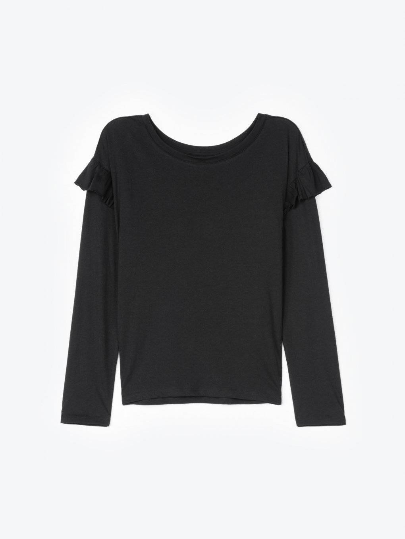 Long sleeve crew neck t-shirt with ruffles