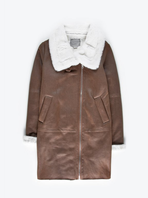 Faux suede pile lined warm coat