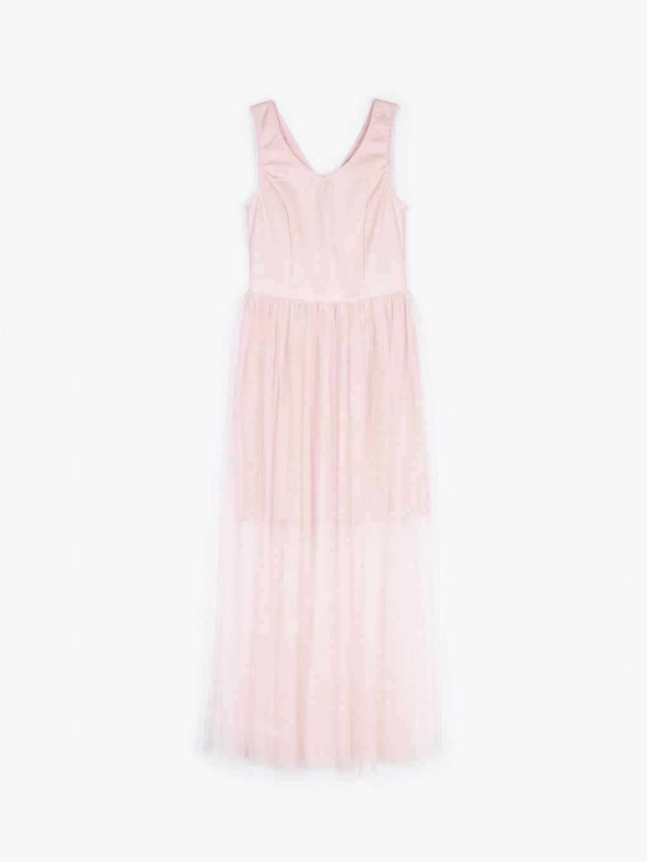 Długa sukienka wieczorowa z tiulową spódnicą