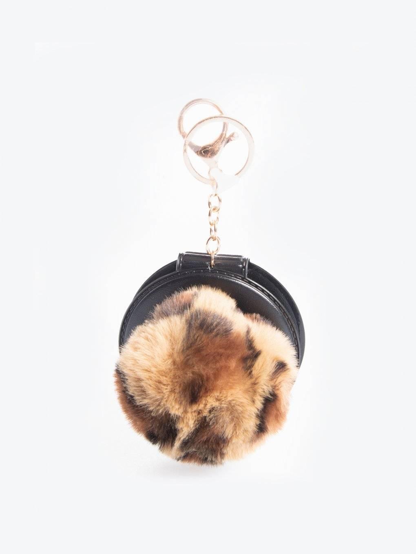 Pom pom key ring with mirror